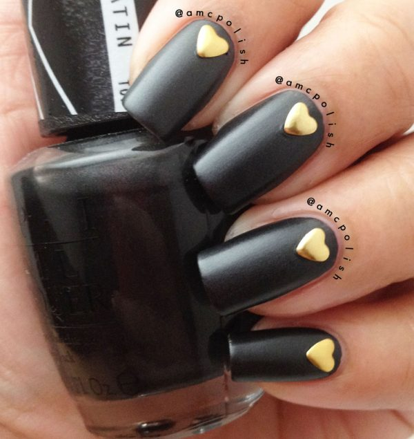satin black with heart studs nailart bmodish