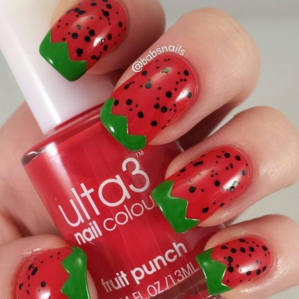 strawberries nail art bmodish