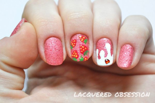 strawberry milkshake nail art bmodish