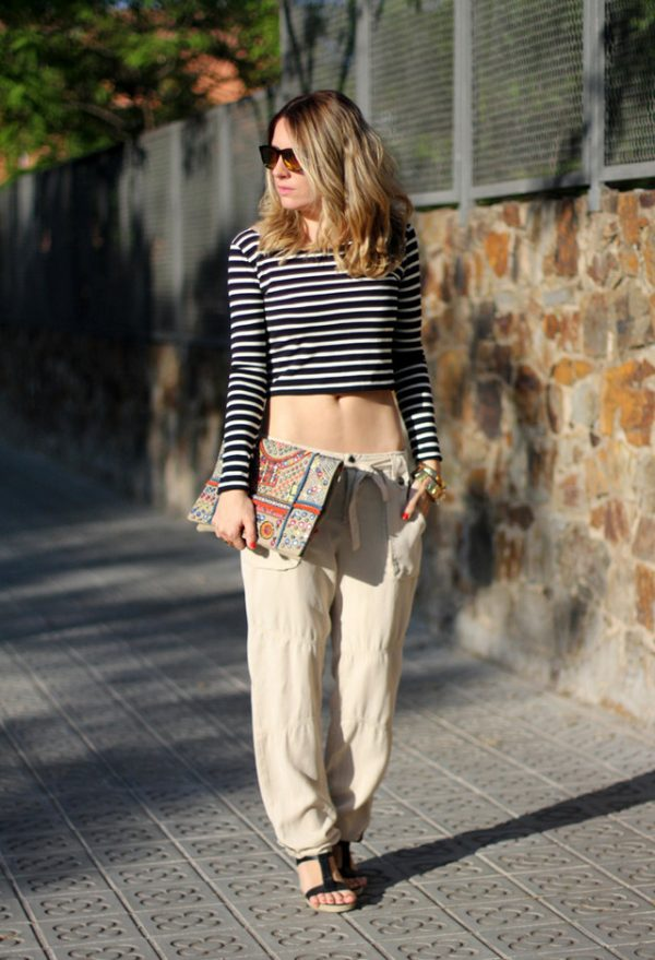 stripe crop top with pants bmodish