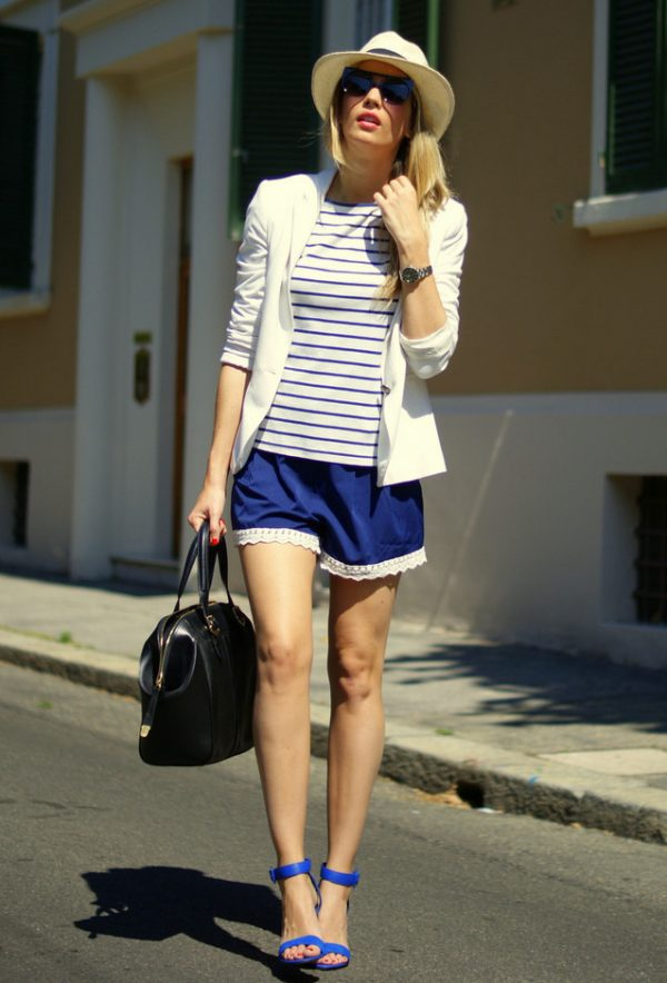 stripe with blue short bmodish