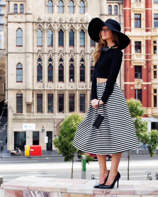 striped midi skirt with crop top bmodish
