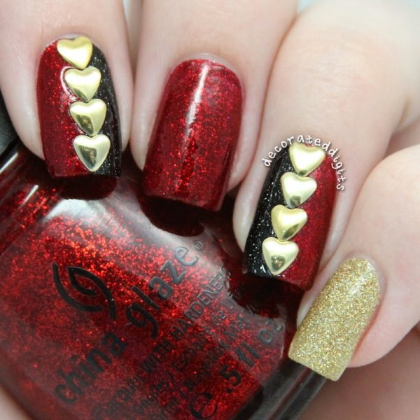 studded hearts nailart bmodish