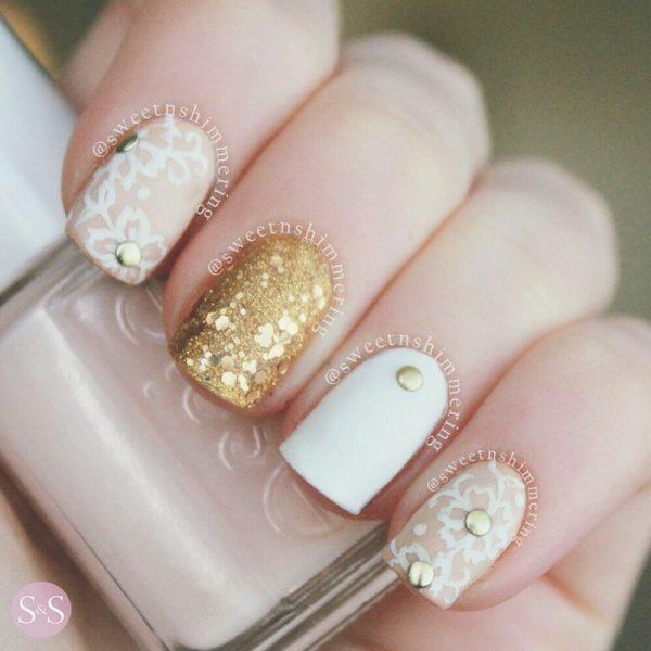 subtle gold studs nailart bmodish