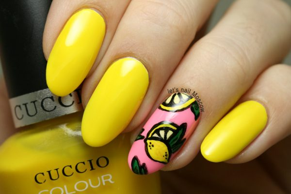 summer lemon nail art bmodish