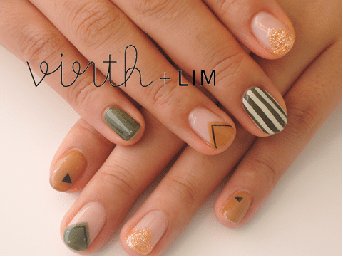 triangle and stripe nail art bmodish