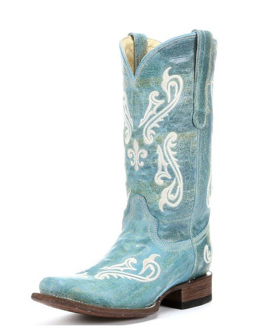 turquoise blue cortez clef embroidery cowgirl boot