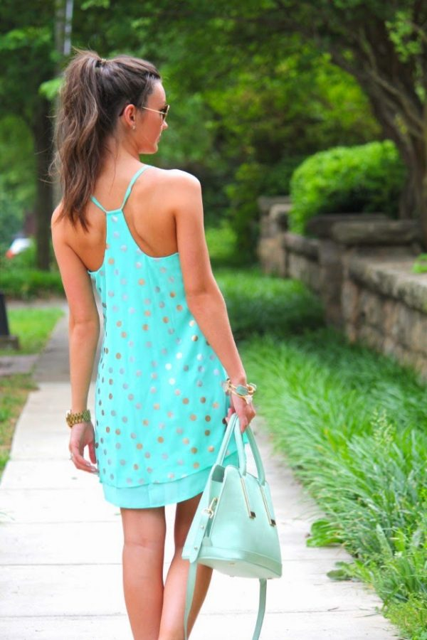 turquoise dots summer dress bmodish