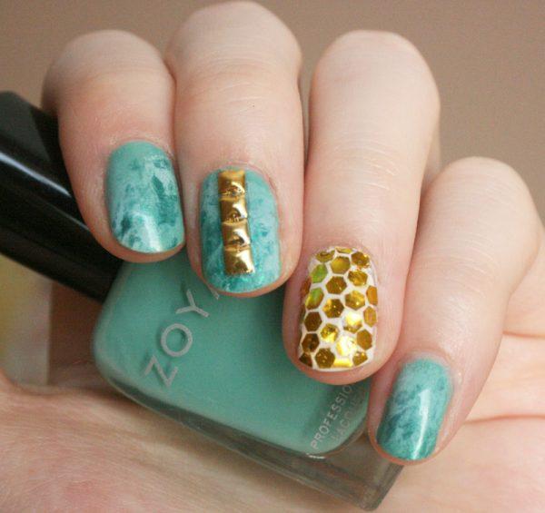 turquoise gold stud nailart bmodish