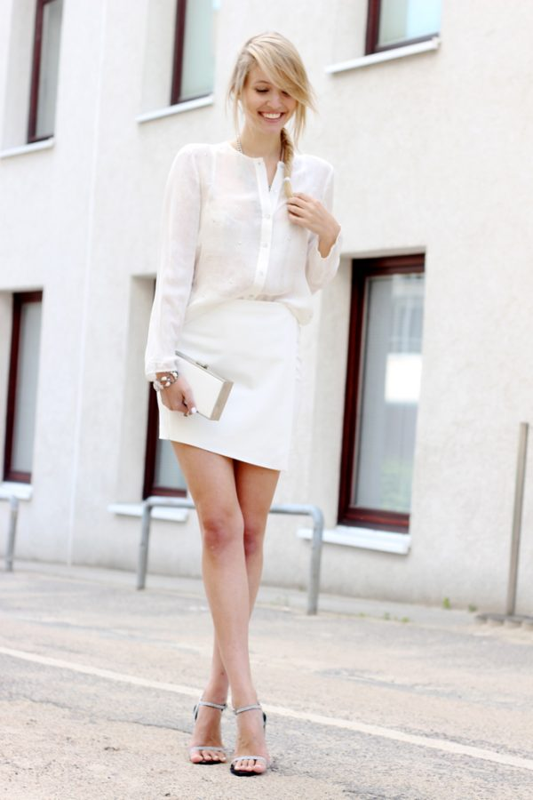 white blouse with skirt bmodish