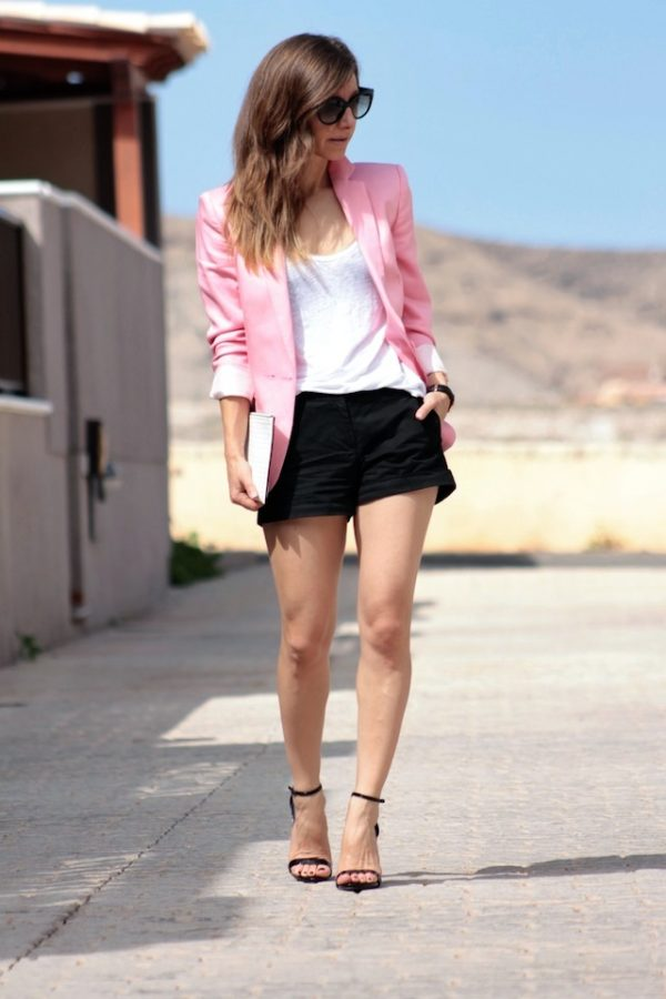 white shirt with pink blazer bmodish