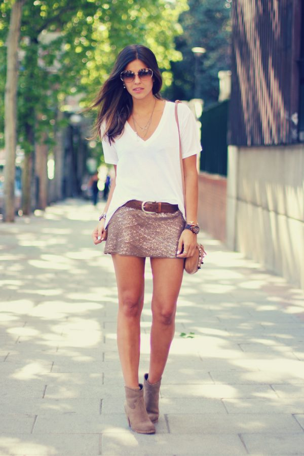 white shirt with sequin skirt bmodish