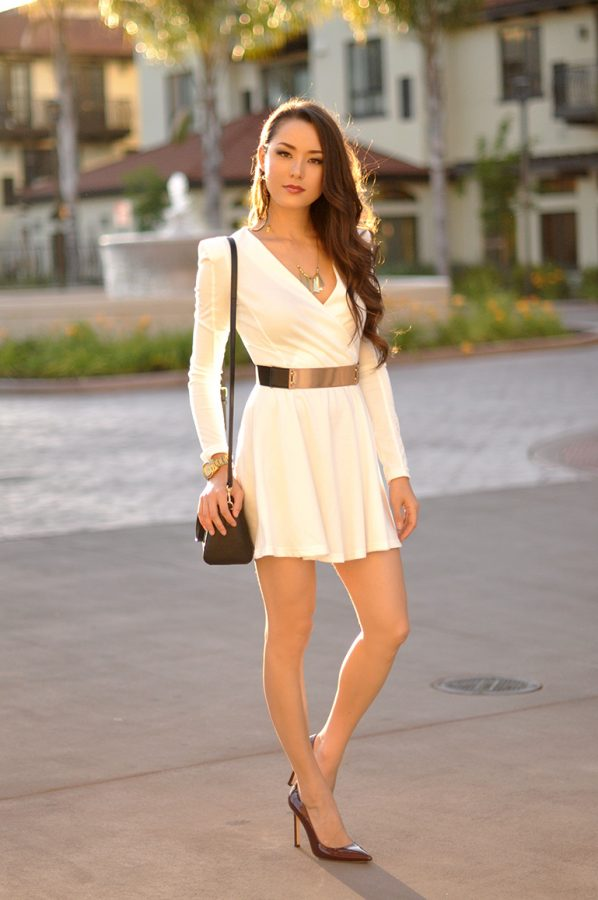 white skater dress with belt bmodish