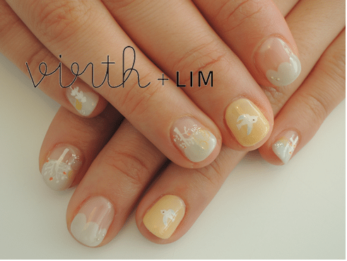 white tree and bird nail art bmodish