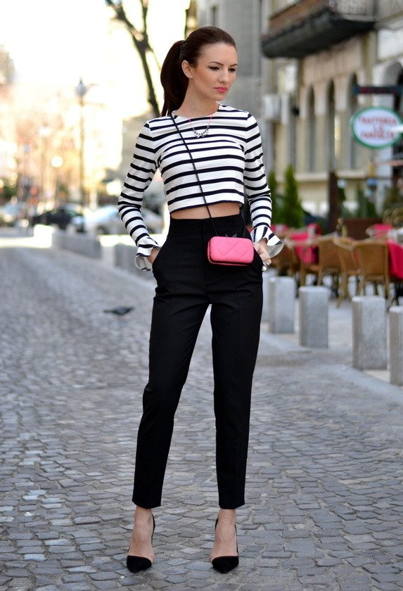 zara-black-pants~with stripe top bmodish