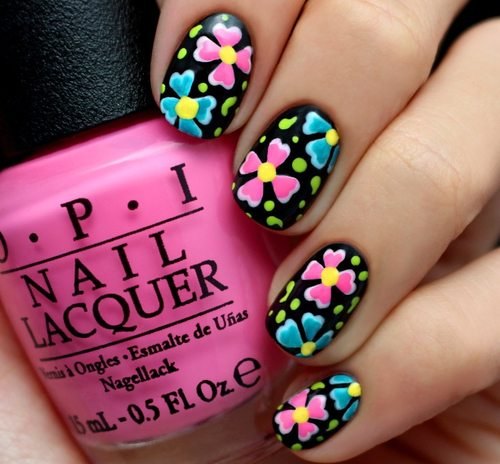 black and neon nail art bmodish