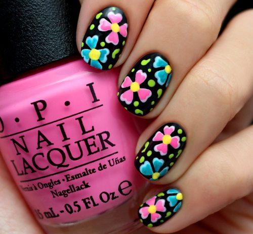 black and neon nail art bmodish