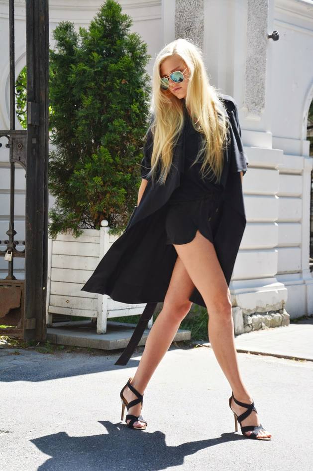 black romper with trench coat bmodish