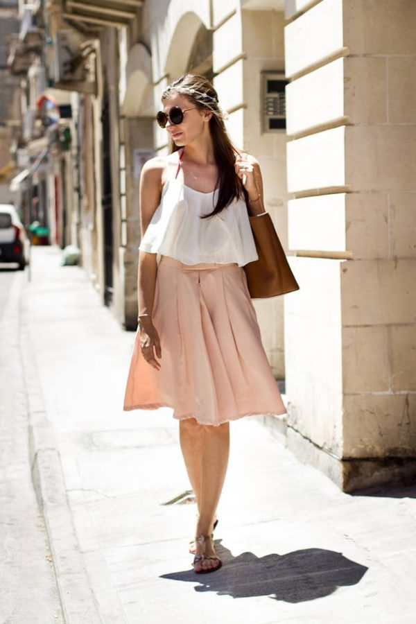 camisoles with pink pleated midi skirt bmodish
