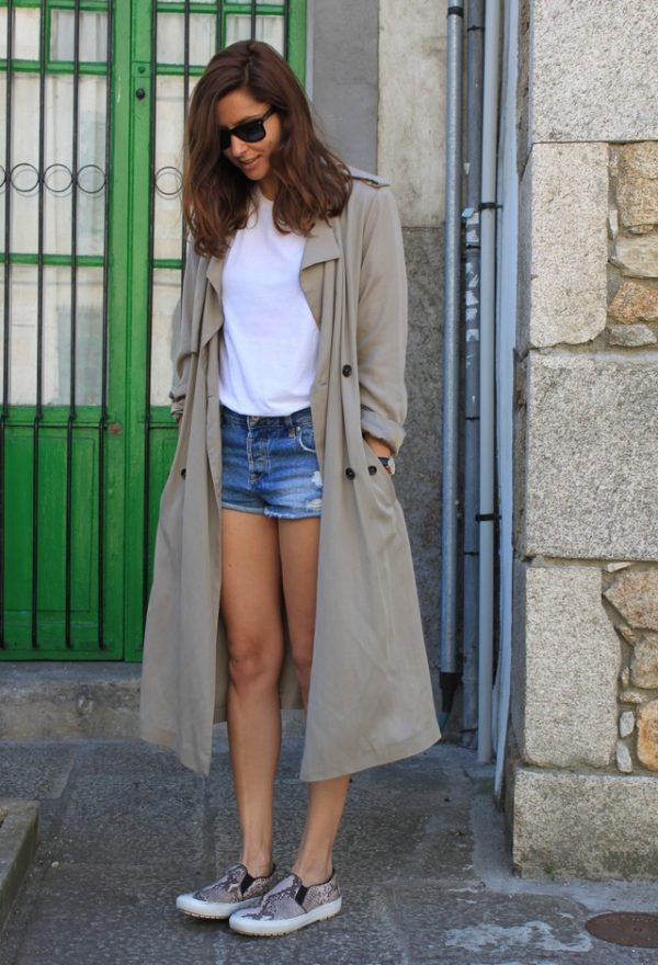 casual basic shirt with short and trench coat bmodish
