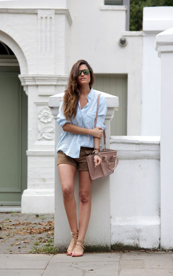 casual light blue shirt with short bmodish