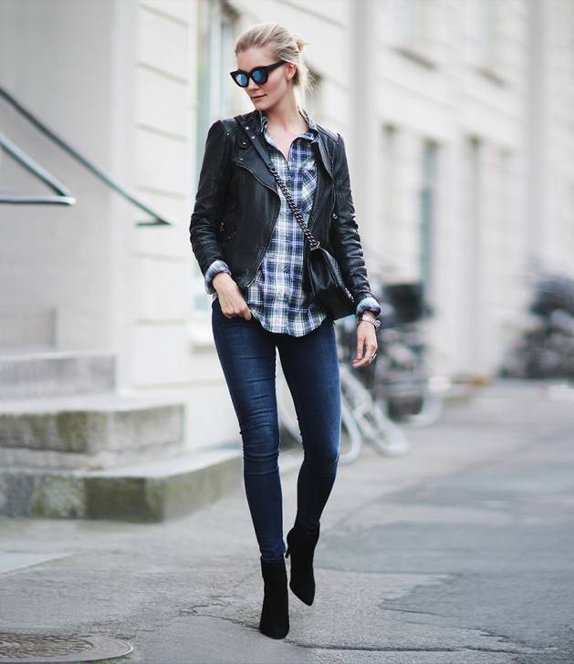 casual plaid with biker jacket bmodish