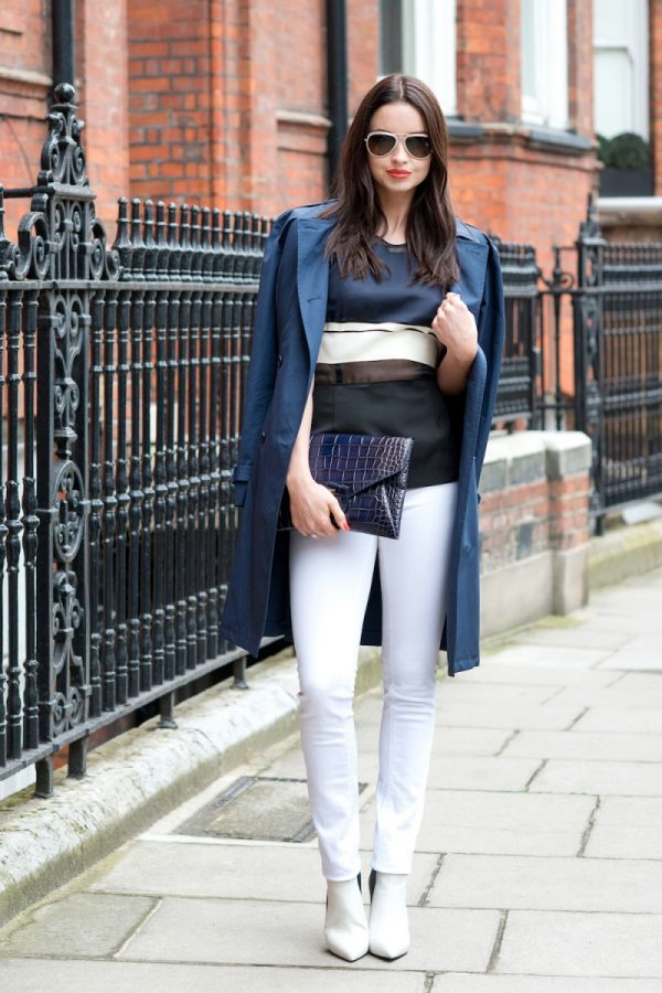 chic blue trench coat bmodish