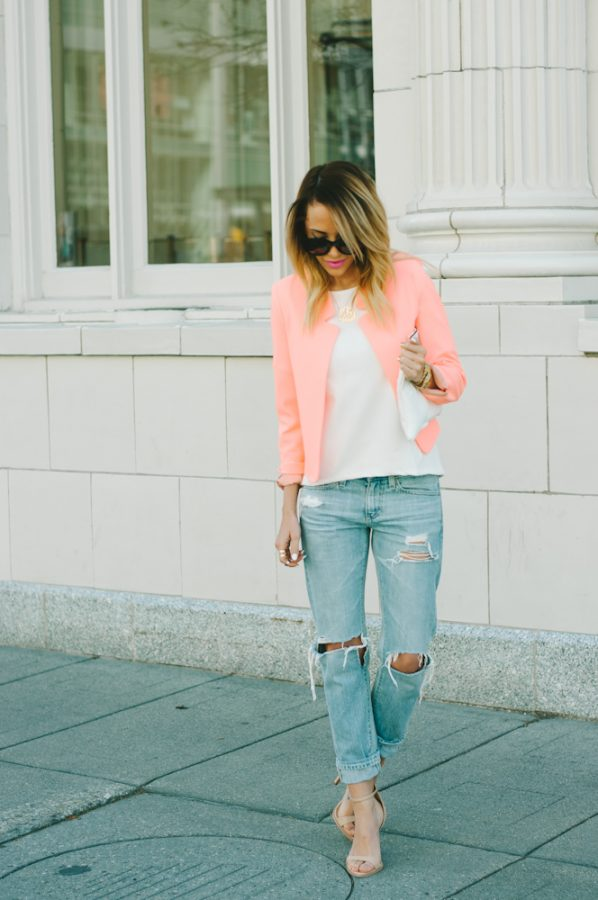 coral blazer spring outfit bmodish
