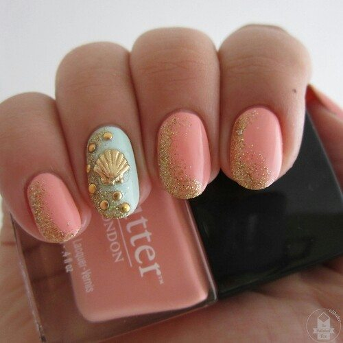 coral pastel and mint nail art bmodish