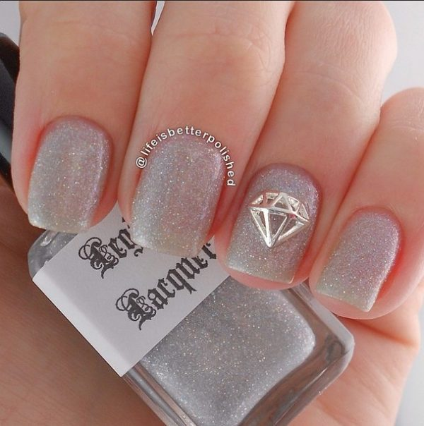 diamond glitter bridal nails bmodish