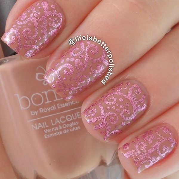 filigree pink bridal nails bmodish