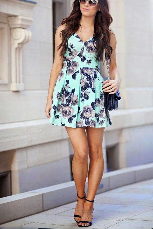 floral green summer dress bmodish