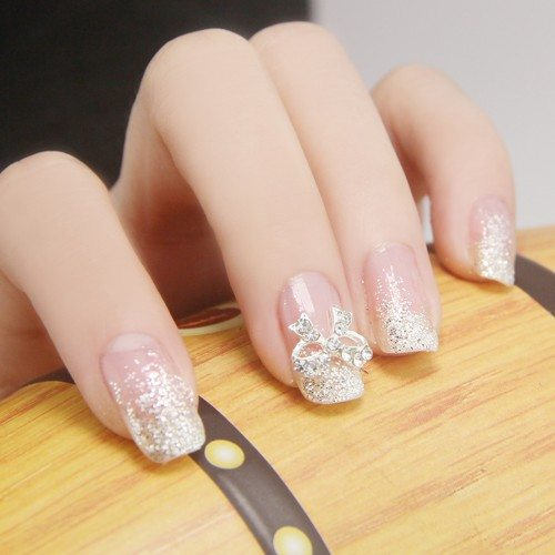glitter with bow accent nails bmodish