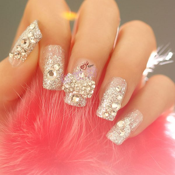 glitter with diamond nails bmodish