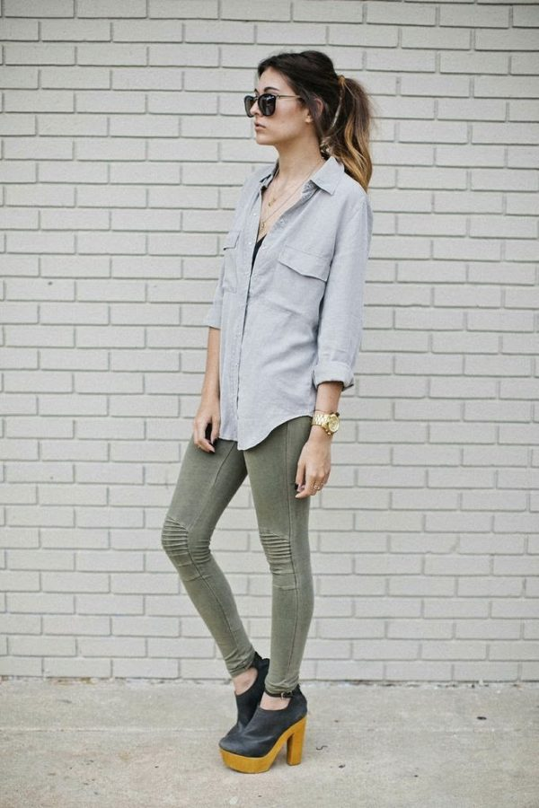 grey button up with booties bmodish