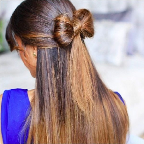 half up bow hair style bmodish