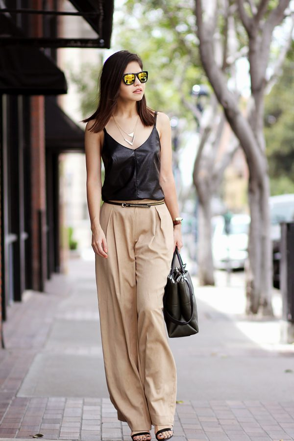 leather camisole with wide leg trousers bmodish