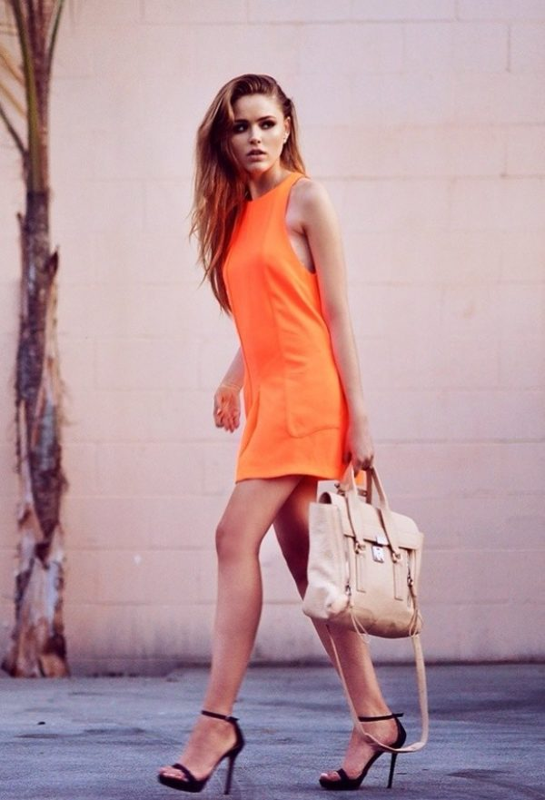 neon dress with black ankle strap bmodish