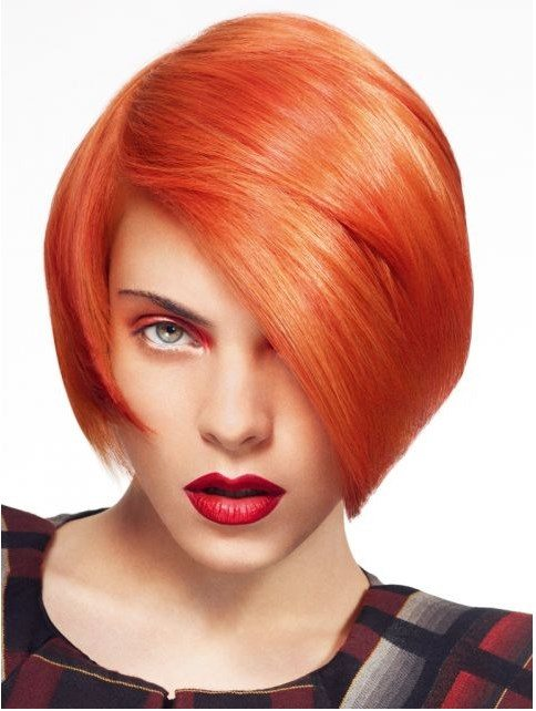 orange short bob hairstyle bmodish
