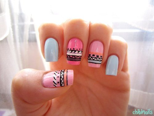 pastel tribal nail art bmodish