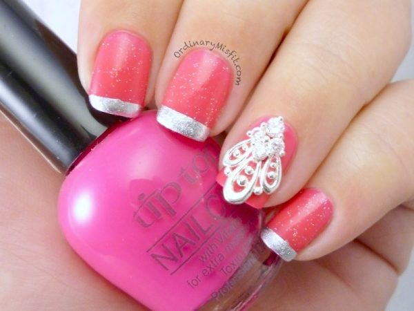 pink and silver french nailart bmodish