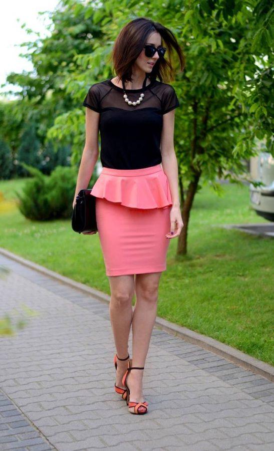 pink coral peplum pencil skirt bmodish
