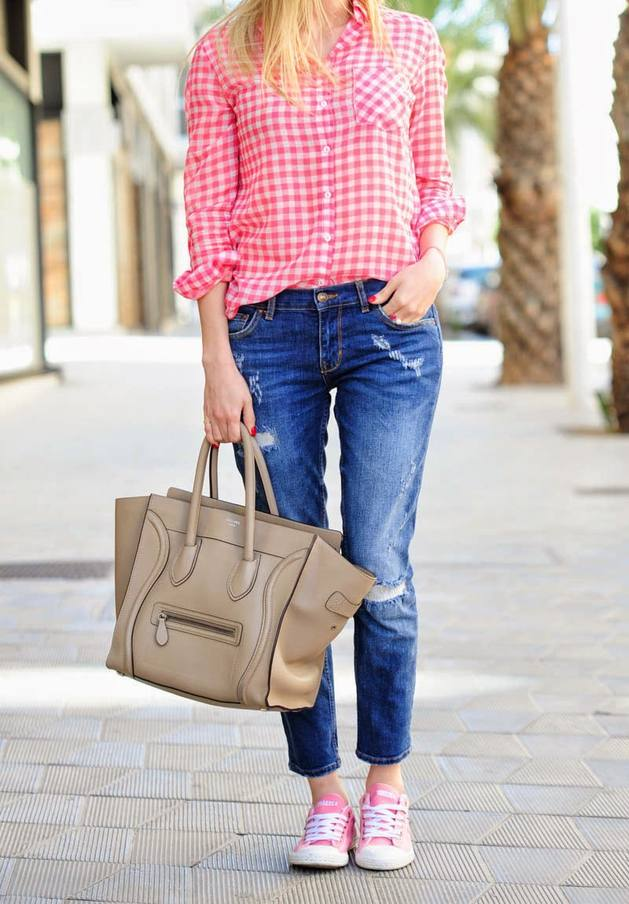 pink plaid casual shirt bmodish