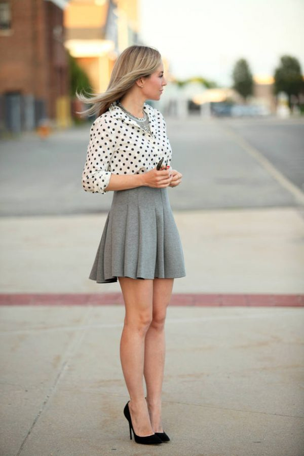polka dot buttonup shirt with mini skirt bmodish