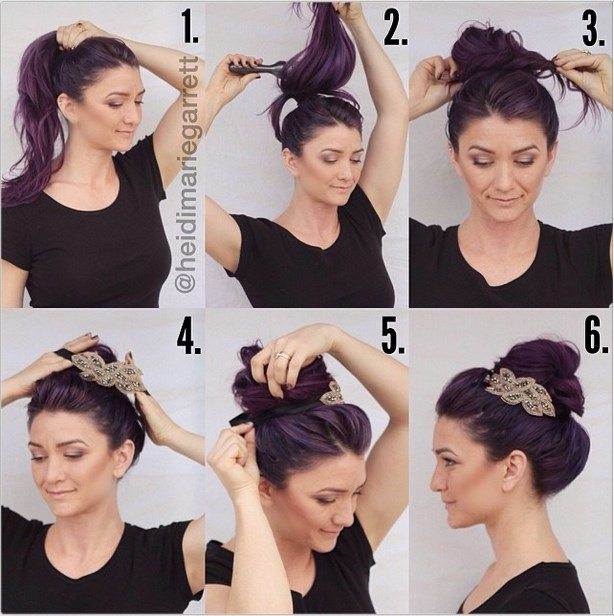 Hairstyle Tutorials 21 simple and cute hairstyle tutorials you should definitely try it Purple Holyday Hair Tutorial With Headband Bmodish