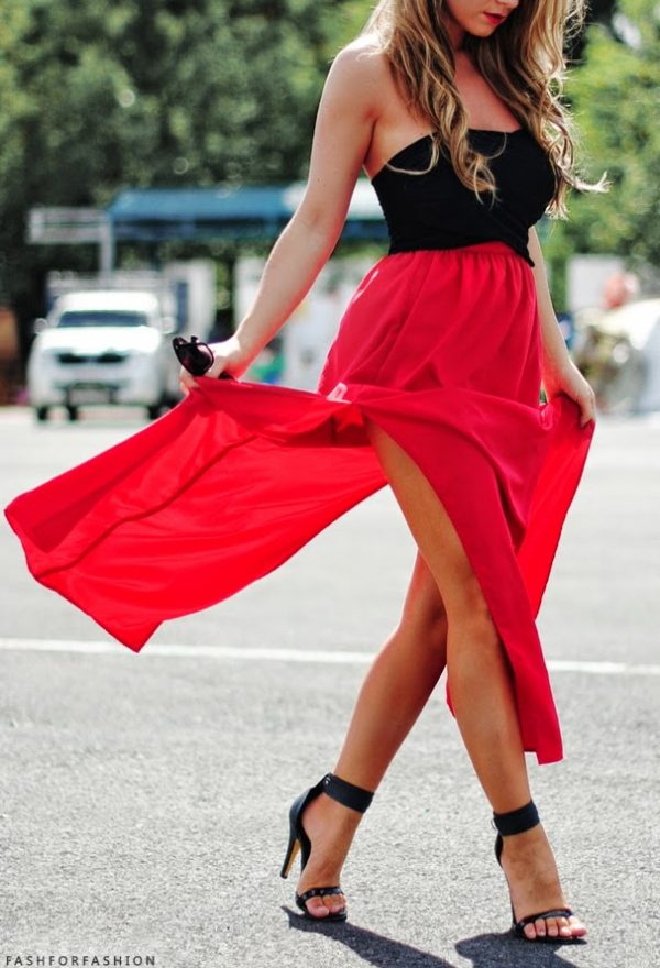 red split maxi skirt with bustier bmodish