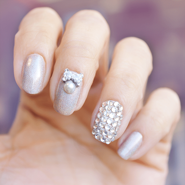 silver bow accents bridal nails bmodish