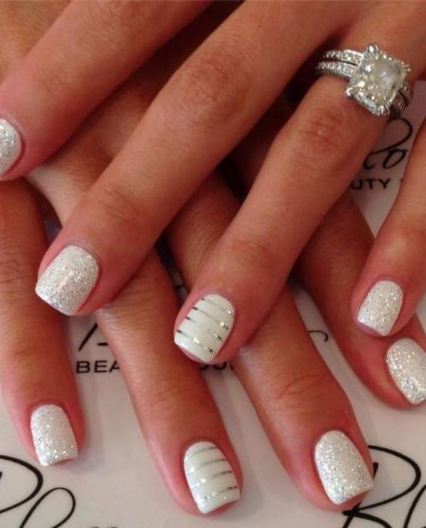 stripe-and-sparkle-wedding-nails bmodish