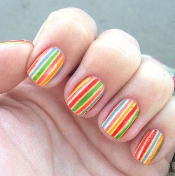 stripe easy summer nail design bmodish