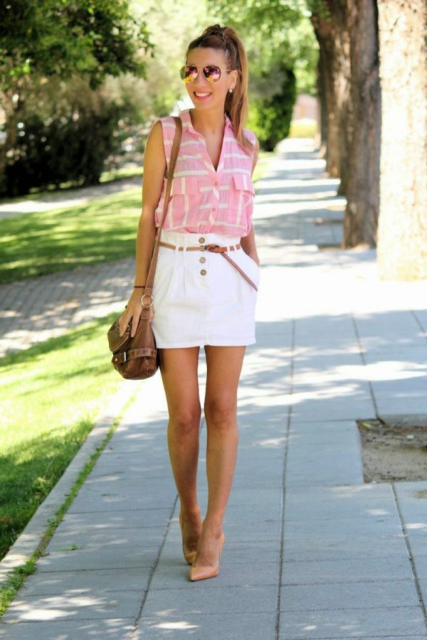 stripe sleeveless pink shirt bmodish